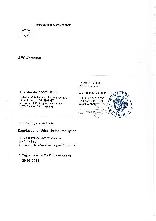 Certifications • Isabellenhütte