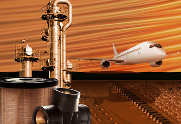 Die Grafik zeigt die verschiedenen Anwendungsbereiche unserer Präzisionslegierungen, wie die Luftfahrt, Temperatur- und Strommessung, Wärmeerzeugung und die Signal- und Stromübertragung.